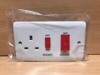 COOKER ON/OFF SWITCH + SOCKET + RED NEON Light Electric WALL Fitting 45 Amp