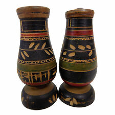 Vintage Mexican SALT & PEPPER SHAKER Wood MEXICO