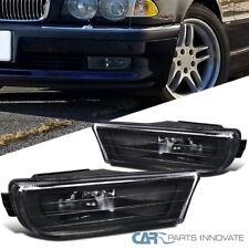 For 95-01 BMW E38 740i 740iL 750iL Black Housing Fog Lights Bumper Lamps Pair