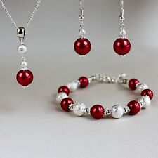 Red pearl necklace bracelet earrings silver wedding bridesmaid jewellery set