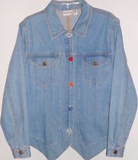 Newport News Jean Jacket Womens Denim 12 Zippered Front Embroidered Flowers Size