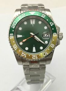 Fashion 40mm Green Dial NH35 Automatic Men's Watch Mechanical Oyster Strap