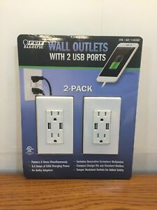 Feit Electric Wall Outlets With 2 USB Ports 3.4 Amps New