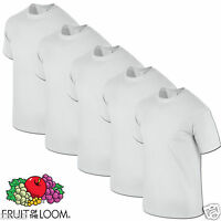 6 Mens Fruit of the Loom Plain White Tshirt T Shirt Blank All Sizes 100% Cotton