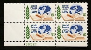 US Plate Blocks Stamps #1576 ~ 1975 PEACE THROUGH LAW 10c Plate Block of 4 MNH
