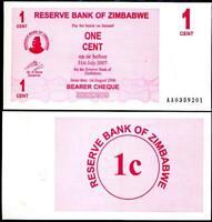 ZIMBABWE 1 CENT 2006 (2007) BEARER CHEQUE P 33 AUNC ABOUT UNC