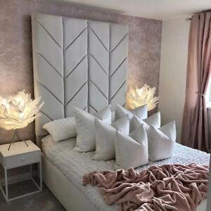 50-70 inch Chevron Design Extra Tall Upholstered Floor Standing Bed Headboard