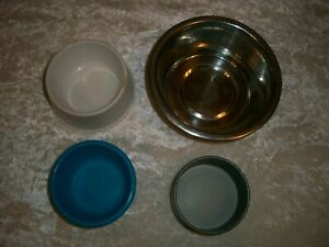 4 small pet bowls, plastic and metal bowls