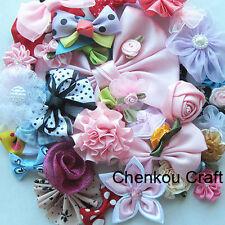 50pcs Satin Organza Ribbon Bows Flowers Appliques Patch Craft Lots Mix Bulk AM3