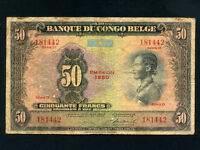 Belgian Congo:P-16h,50 Francs, 1950 * Woman * RARE Type * Uitgifte 1950 *