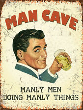 VINTAGE STYLE RETRO METAL WALL SIGN TIN PLAQUE MAN CAVE GARAGE PRESENT