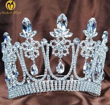 Queen Pageant Crown Tiara Headband Contoured Clear Cyrstal Bridal Hair Jewelry