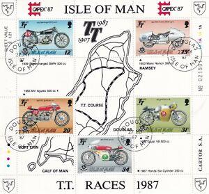 ISLE OF MAN 27 MAY 1987 TT RACES MINIATURE SHEET FINE USED