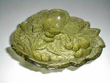 Indiana Glass Green LOGANBERRY Berry Leaf  Candy Dish/ Bon Bon Bowl
