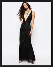 aa7fb904ea8 NEW Free People Juliet Bodycon Maxi Dress Black Criss Cross Back Lace  350  Sz 12