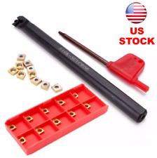Lathe Boring Bar Turning Holder S10K-SCLCR06+10pcs CCMT060204-HM Carbide Inserts