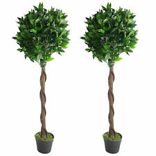Pair 120cm (4ft) Twisted Stem Artificial Topiary Bay Laurel Ball Trees by Leaf
