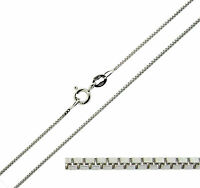 """9ct Solid White Gold 16 18 20 22 24 26 28 30"""" inch Fine Box Link Chain Necklace"""