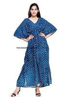Indien Main Bloc Imprimé Grande Taille Bleu Caftan Plage Haut Robe Tablier Maxi