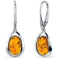Oravo Baltic Amber Clip Style Earrings Sterling Silver Cognac Color Oval Shape
