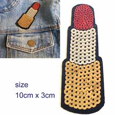 Sequin lipstick iron on patch - make up lip stick embroidery kiss mouth patches