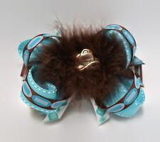 4-inch Brown Aqua Western Horse Show Equestrian Hair Bow Silver Hat Handmade