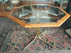 Octagonal dining table smoked glass and brass