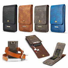 Vertical Belt Loop Dual Pocket Holster Wallet Leather Sleeve Pouch For iPhone