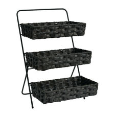 3 Tier Plastic Wicker Baskets Display Stand in Black 13 W x 8 D x 3 H Inches