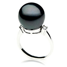 New 13mm Tahitian Black Pearl White Gold Ring Pacific Pearls® Gifts For Daughter