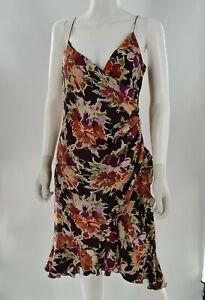 Nicole Miller VINTAGE Asymmetrical Floral Silk V-Neck Midi Dress Size 10