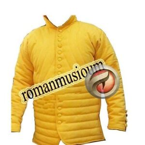 Thick yellow Padded Collar Full Sleeves Armour Gambeson Medieval