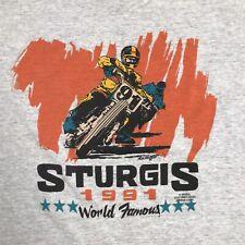New listing 1991 Black Hills Rally & Races Sturgis, S.D Single Stitch T Shirt Grey Vintage