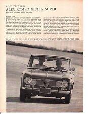1966 ALFA ROMEO GIULIA SUPER ~ ORIGINAL 4-PAGE ROAD TEST / ARTICLE / AD