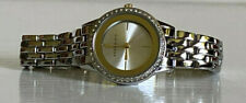 NEW! ANNE KLEIN SWAROVSKI CRYSTALS GOLD DIAL SILVER-TONE BRACELET WATCH $85 SALE
