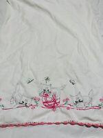 VTG Embroidered Cat Kitten Pillowcase Pink Ball Of Yarn Butterflies Flowers