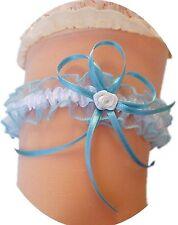 Strumpfband Braut blau hellblau weiß mit Röschen Schleifchen Hochzeit Neu EU