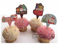 24x Christmas CUPCAKE CAKE Card TOPPERS Jelly Cup Food Picks Xmas Party Santa