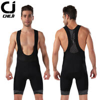 CHEJI Men's Black Cycling Bib Shorts Spandex Padded Bike Bib Shorts Coolmax