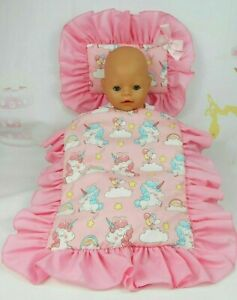 DOLLS~CUTE UNICORNS PILLOW & QUILT COVER SET~FOR BED~COT~PRAM~CRADLE~BASSINET