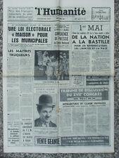 L'Humanité (16 avril 1964) Loi électorale - Anniversaire Chaplin - Egea - F.L.N