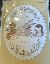 Papyrus Easter Card - Glittery Scallop Frame with Fox, Bunny Rabbit & Chipmunk
