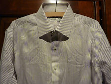 Marks and spencer tailoring cotton non iron white purple stripe shirt.Size 16.5""