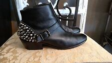 SAM EDELMAN Pax Black Leather Ankle Booties Zip spikes / stone Boot 7M