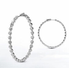 Hoop Earring, 34 x 0.20 ct 1.25 inch 6.82 carat Round cut Diamond 14k White Gold