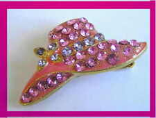 1 New Pink Crystals 14K Gold Plated Hat Brooch Pin Broach 35mmx18mm Womens M L S