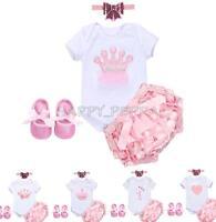 4pcs Newborn Baby Girl Princess Infant Romper+Headband+Bloomer+Shoes Clothes Set