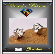 Boucle d'oreille puce argent 925 + zirconium Diamant clou  E11 X