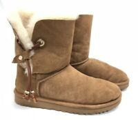 Ugg Australia MAIA leather drawstring metal beads suede boot 1017496 Chestnut ~