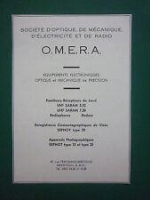 1950'S PUB OMERA ARGENTEUIL PHOTOGRAPHIE AERIENNE SEPHOT EMETTEUR RECEPTEUR AD